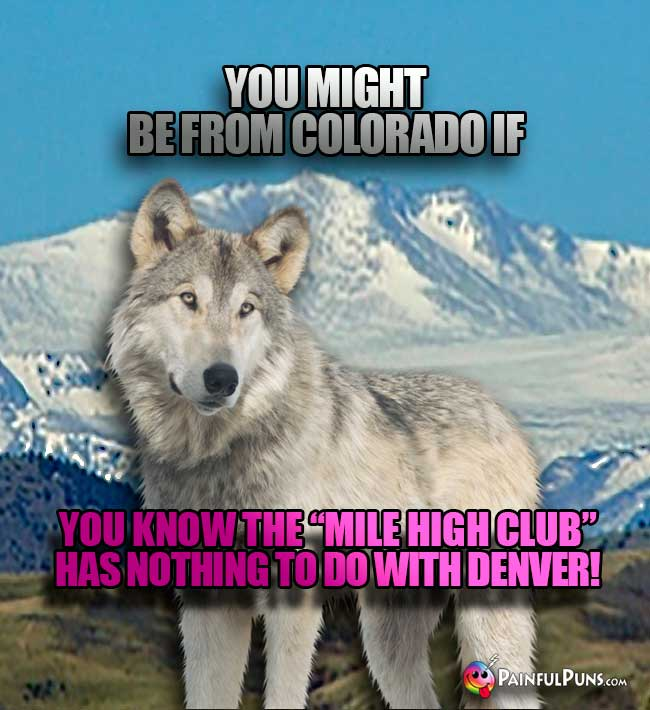 "Wolf says: You might be from Colorado if you know the ""Mile High Club"" has nothing to do with Denver!"