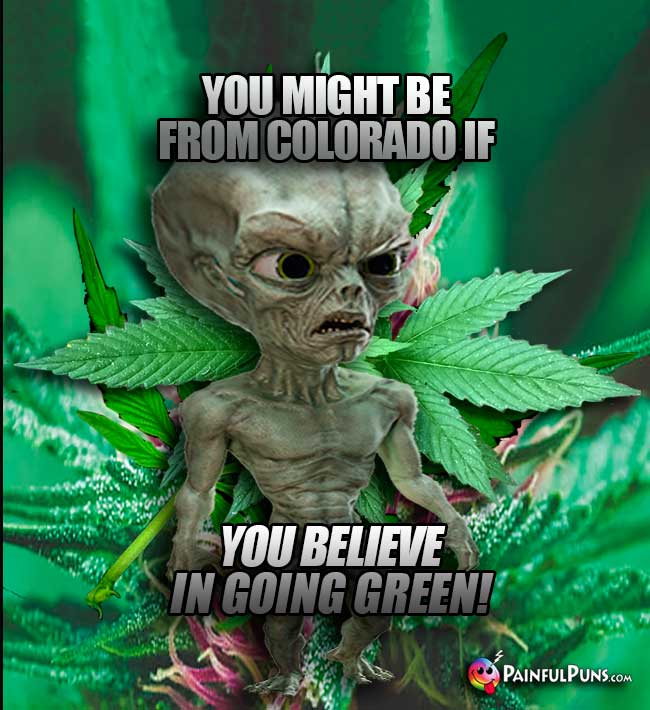 Alien says: You might be from Colorado if you believe in going green!