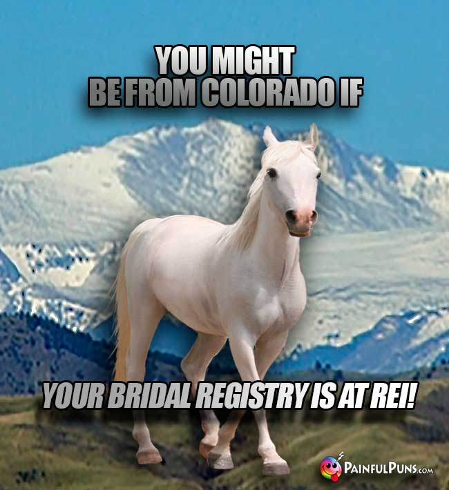 You might be from Colorado if your bridal registry is at REI!