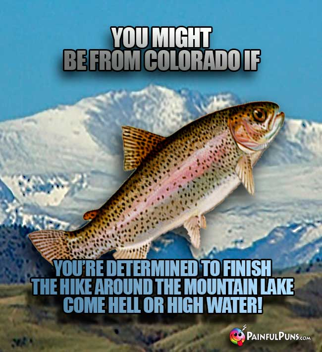 You might be from Colorado if you're determined to finish the hike around the mountain lake come hell or high water!