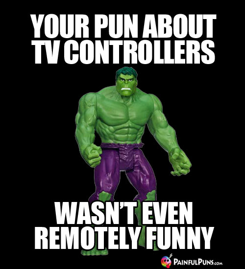 Your pun about TV controllers wasn't even remotely funny.