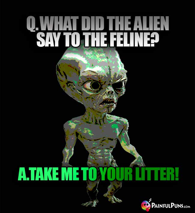 Q. What did the alien say to the feline? A. Take me to your litter!