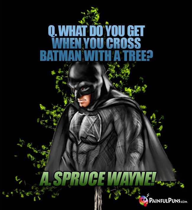 Q. What do you get when you cross Batman with a tree? A. Spruce Wayne!