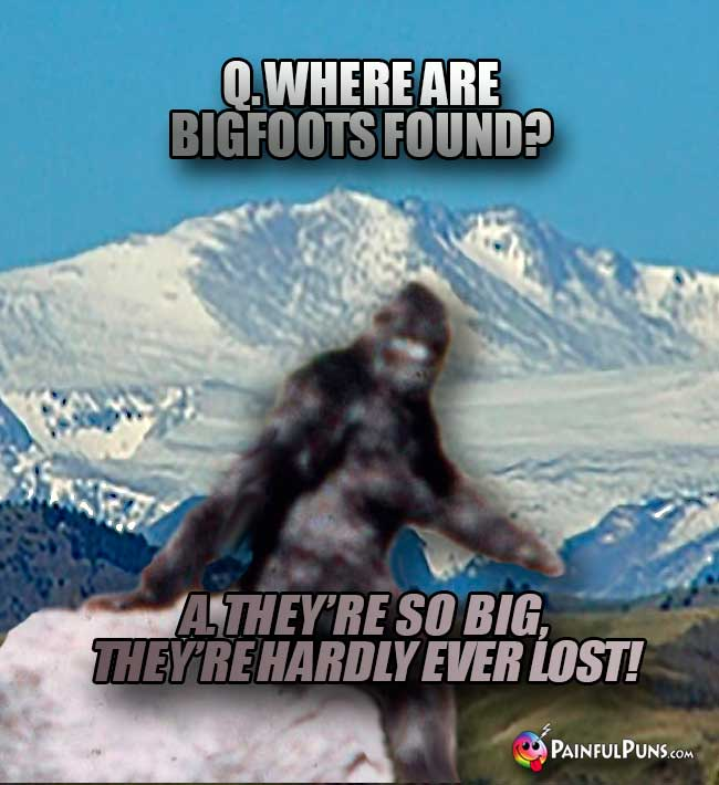 Q. Where are bigfoots found? A. they're so big, they're hardly ever lost!