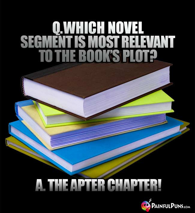 Q. Which novel segment is most relevant to the book's plot? A. The apter chapter!