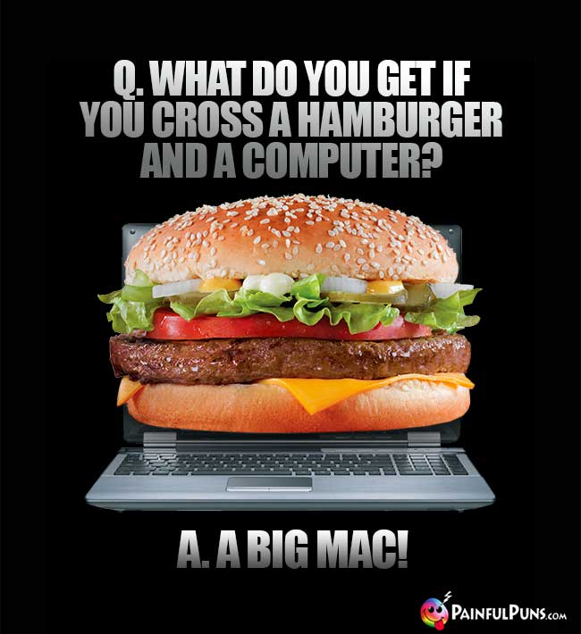Q. What do yu get if you cross a hamburger and a computer? A. A Big Mac!