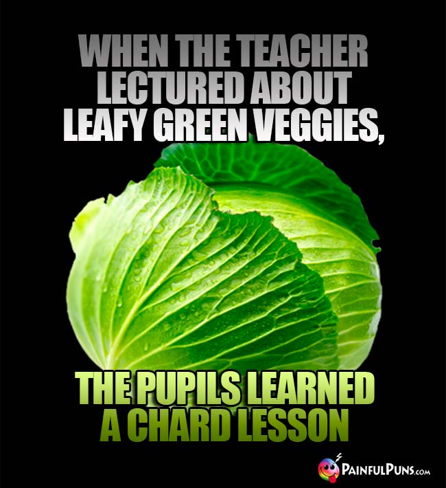 When the teacher lectured avout leafy green veggies, the pupil learned a chard lesson!