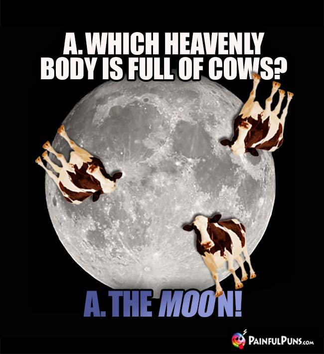 Which heavenly body is full of cows? A. the moo-n!