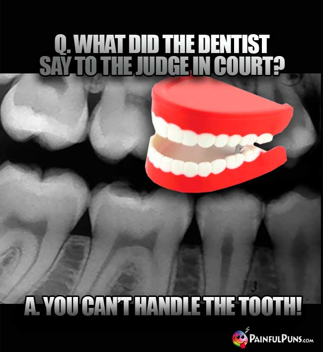 Q. What did the dentist say to the judge in court? A. You can't handle the tooth!