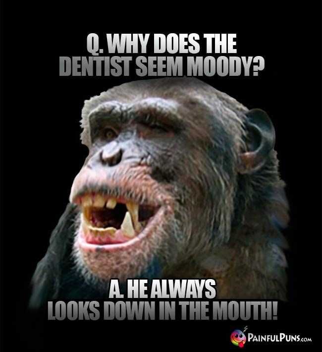 Q. Why does the dentist seem moody? A. He always looks down in the mouth!