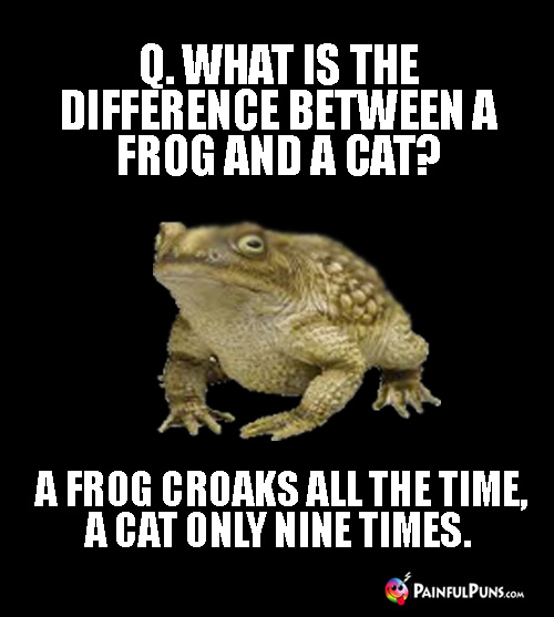 Q. What is the difference between a frog and a cat? A frog croaks all the time, a cat only nine times.