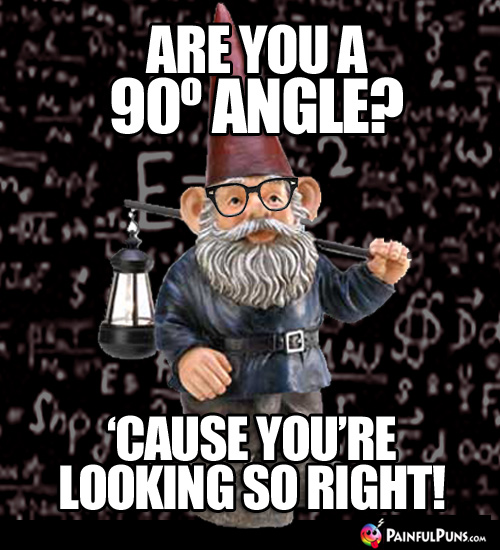 Are you a 90º angle? 'Cause you're looking so right!