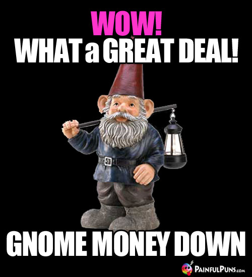 Wow! What a great deal! Gnome money down.