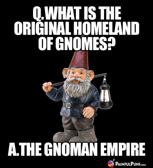 Q. What is the original homeland of gnomes? A. The Gnoman Empire