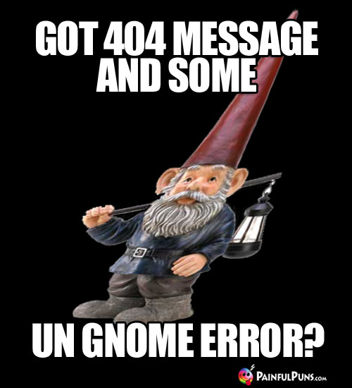 Got 404 message and some un gnome error?
