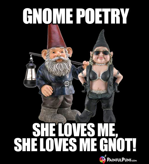 Gnome Poetry: She loves me, she loves me gnot!