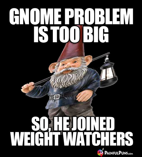 Diet Meme: Gnome problem is too big, so he joined Weight Watchers.