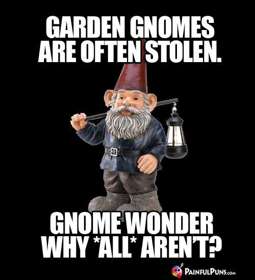 Garden gnomes are often stolen. Gnome wonder why ALL aren't?