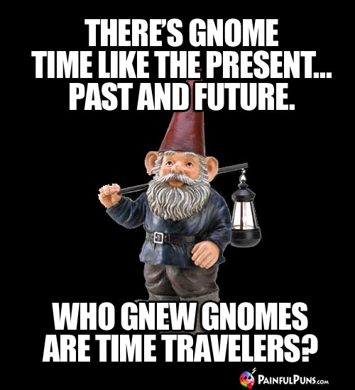 There's gnome time like the present, past and future. Who gnew gnomes are time travelers?