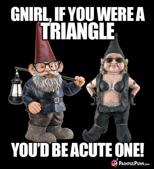 Gnirl, if you were a triangle, you'd be acute one!
