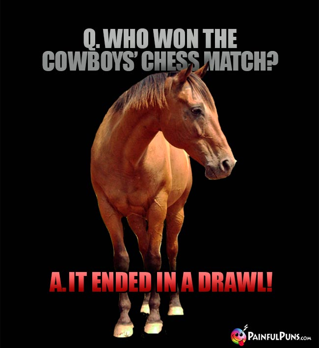 Q. Who wond the cowboy's chess match? A. It ended in a drawl!