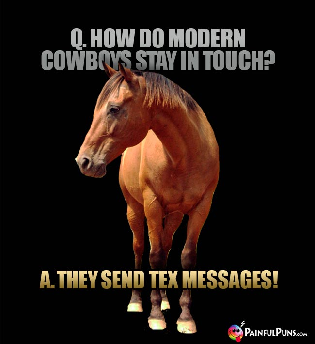 Q. How do modern cowboys stay in touch? A. They send tex messages!