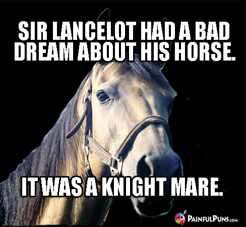 Sir Lancelot had a bad dream about his horse. It was a knight mare.