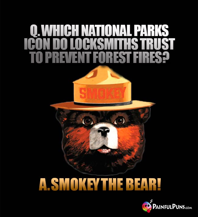 Q. Which national parks icon do locksmiths trust to preven forest fires? A. Smokey the Bear!