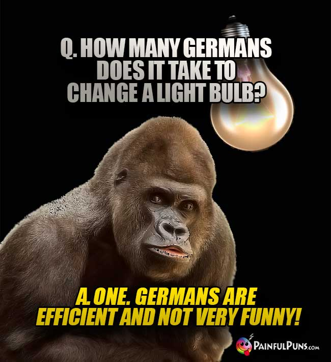 Q. How man Germans does it take to change a light bulb? A. One. Germans are efficient and not very funny!