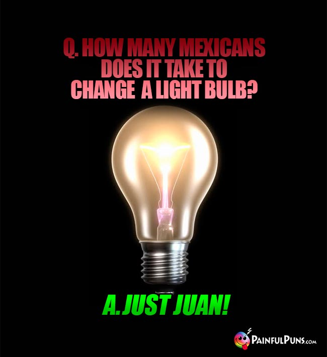 Q. How many Mexicans does it take to change a light bulb? A. Just Juan!