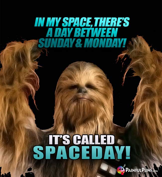 In my space, there's a day between Sunday and Monday! It's called Spaceday!