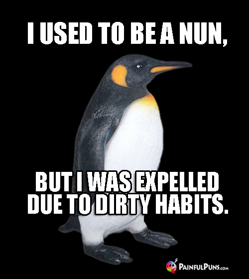 I used to be a nun, but I was expelled due to dirty habits.