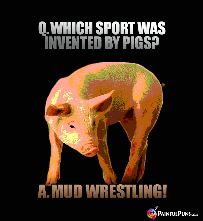 Q. Which sport was invented by pigs? A. Mud Wrestling!