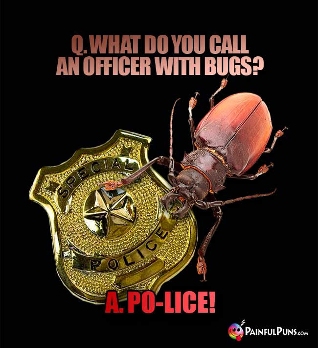 Q. what do you call an officer with bugs? A. Po-Lice!