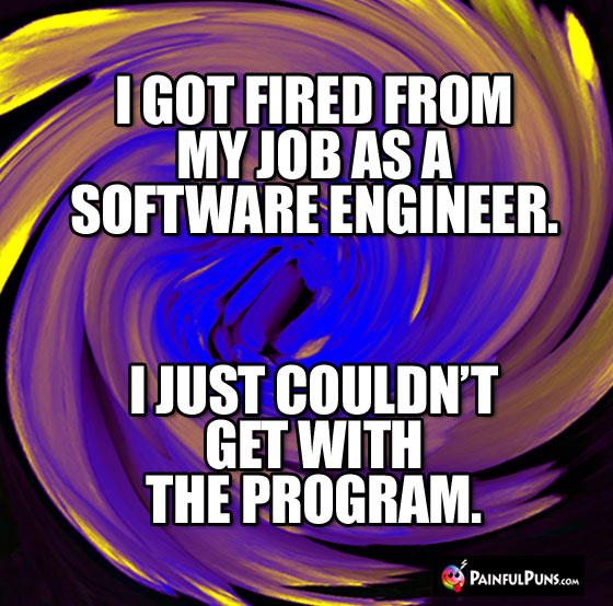 I got fired from my job as a software engineer. I just couldn't get with the program.