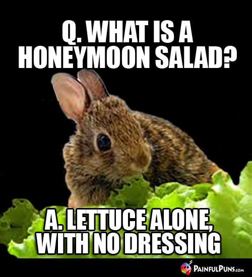 Q. What is a honeymoon salad? A. Lettuce alone with no dressing.