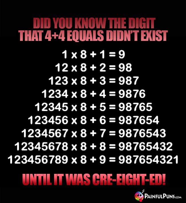 Did you know the digit that 4+4 equals didn't exist until it was cre-eight-ed!