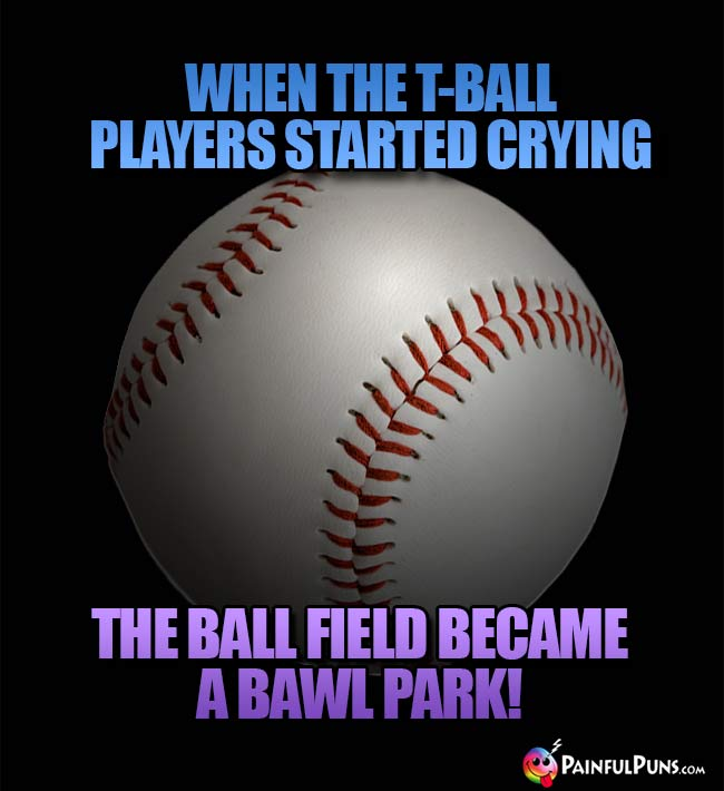 When the T-ball players started crying, the ball field became a bawl park!