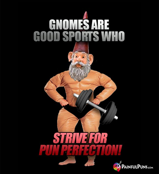 Gnomes are good sports who strive for pun perfection!