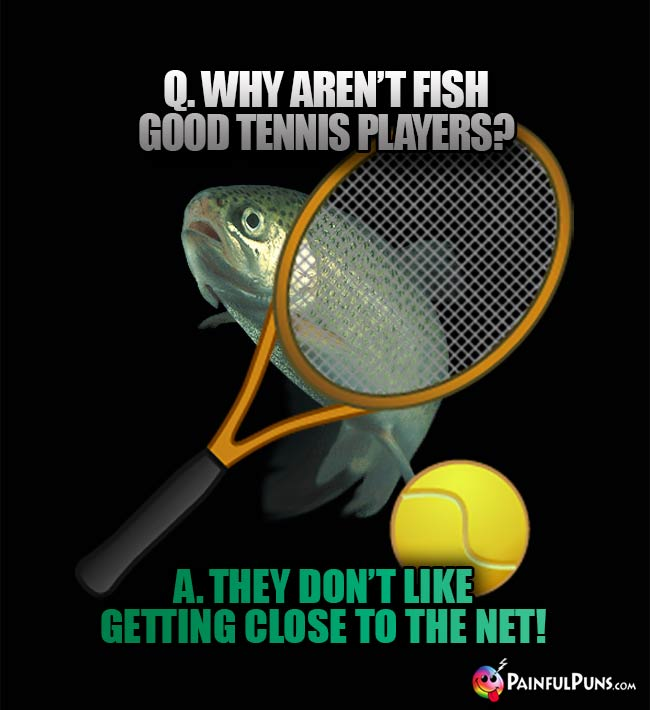 Q. Why aren't fish good tennis players? A. They don't like getting close to the net!