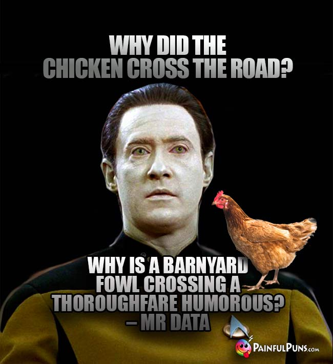 Why did the chicken cross the road? Why is a barnyard fowl crossing a thoroughfare humorous? – Mr. Data