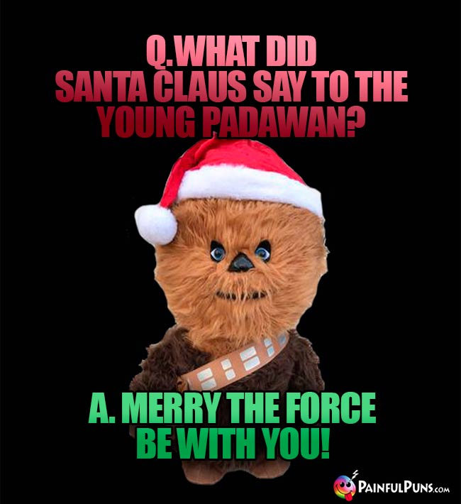 Q. What did Santa Claus say to the young Padawan? A. Merry the Force be with you!