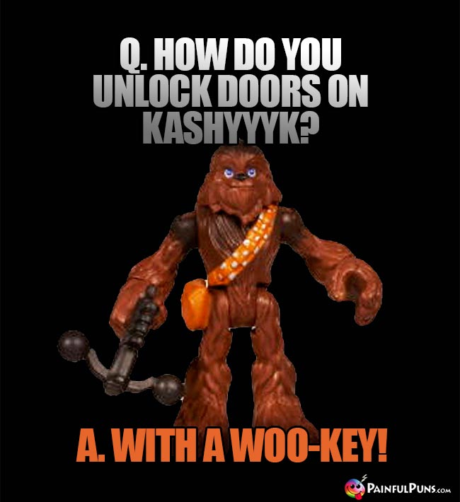 Q. How do you unlock doors on Kashyyyk? A. With a Woo-key!