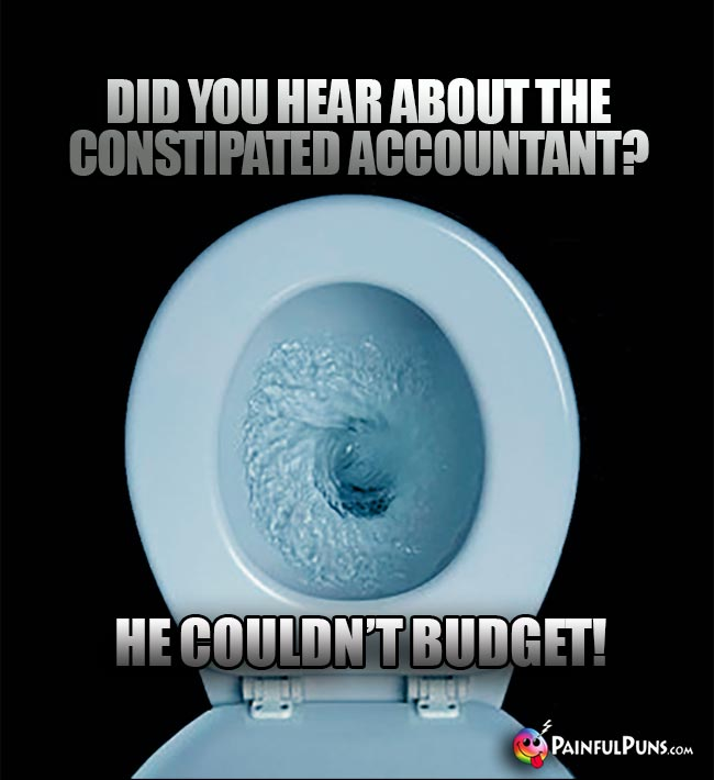Did you hear about the constipated accountant? He couldn't budget!