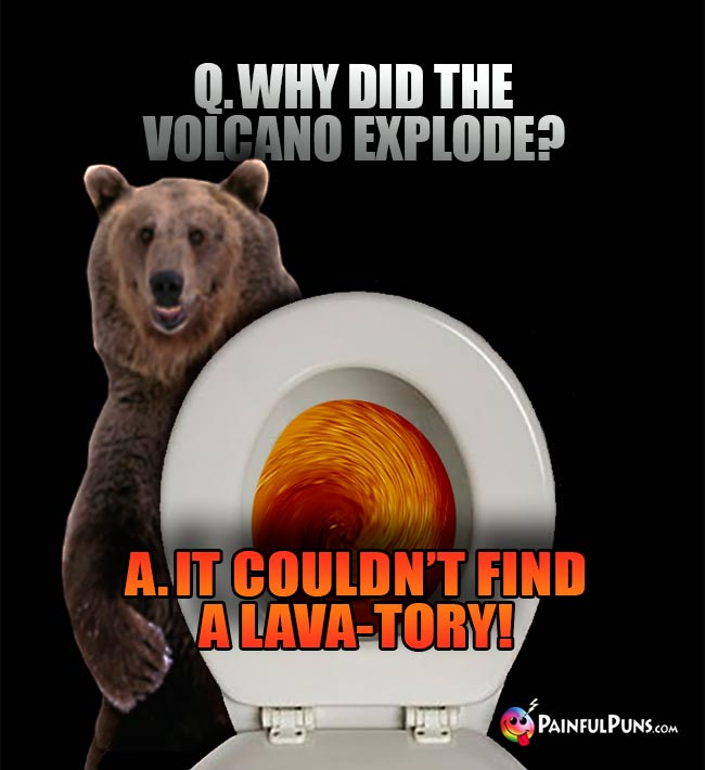 Q. Why did the volcano explode? A. It couldn't find a lava-tory!