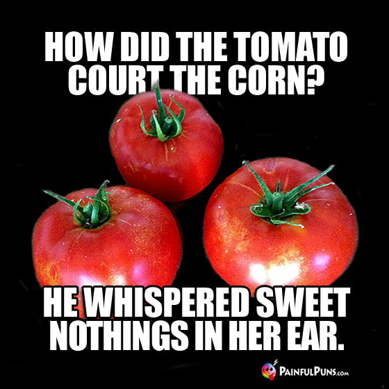 How did the tomato court the corn? He whispered sweet nothings in her ear.