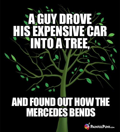 A guy drove his expensive car into a tree, and found out how the Mercedes Bends.