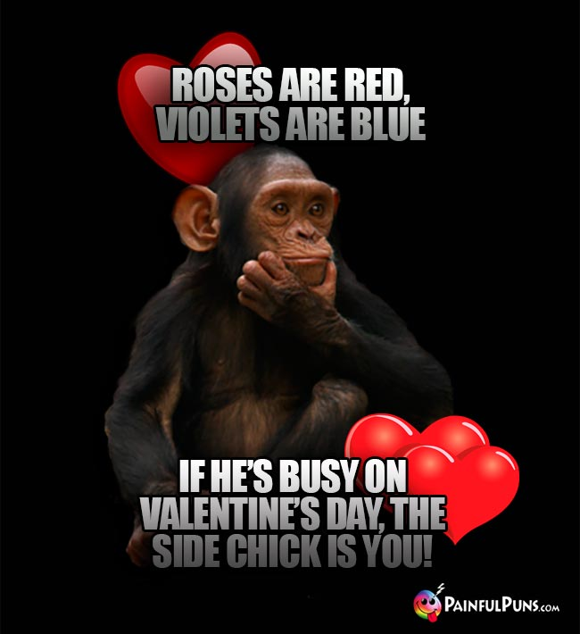 Roses are red, violets are blue, if he's usy on Valentine's Day, the side chick is you!