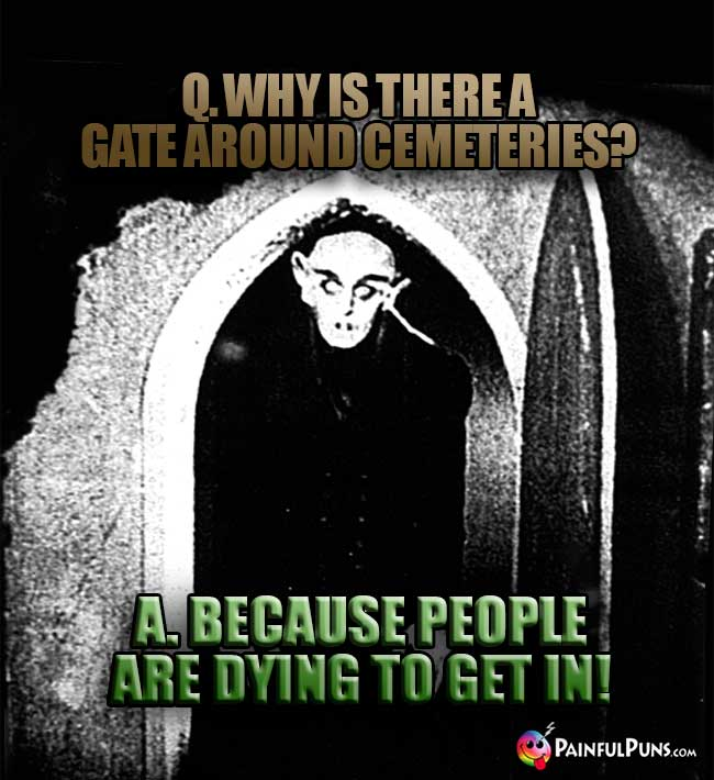 Q. Why is there a gate around cemeteries? A. Because people are dying ot get in!
