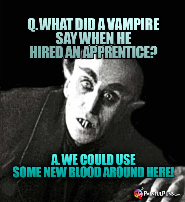 Q. What did a vampire say when he hired an apprentice? A. We could use some new blood around here!